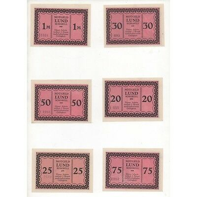 NOTGELD - LUND - 6 different notes - small numbers (L107) -.L107 ALLEM