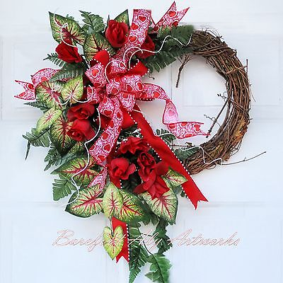 Large Handmade Valentine Wreath Red Bow, Hearts, Roses, Caladium, GREAT GIFT