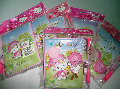 Hello Kitty Lot of Six Blank Lock Diary Book Journal and Pen NEW
