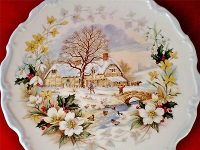 VINTAGE China ROYAL ALBERT Wall WINTER Plate COTTAGE GARDEN SERIES