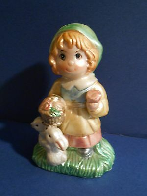 K's Collection Ceramic Figurine Girl Apron Basket and rabbits   765719 8FSH11