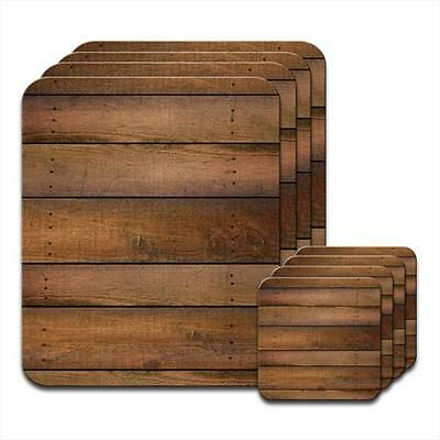 Cabin Wall Wood Lookalike Coaster & Placemat Set