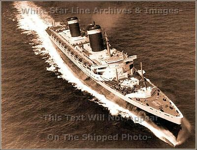 Photo: Sepia  SS United States During Blue Riband Run, English Channel, 1952