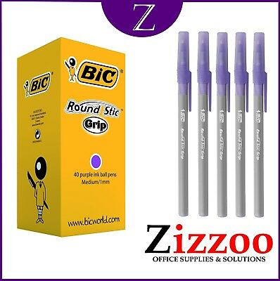 Bic Round Stic Grip Pens ** Purple  ** Ideal For Teachers And Office + Free P&p!
