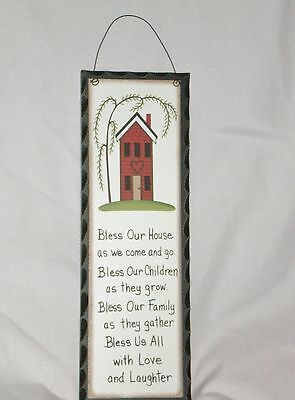 Primitive Carved look plaque BLESS OUR HOUSE poem saltbox willow tree