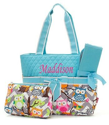 Personalize Cute Owl Quilted 3Pcs Set Diaper Bag Free MONOGRAM Embroidered Name
