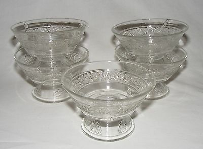 ANTIQUE C.1895 EARLY AMERICAN PRESSED GLASS ~ SHERBET DESSERT BOWL SET ~ ROSES