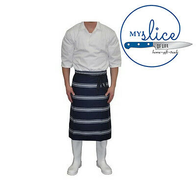 Traditional Navy & White Denim Butchers Lap Apron 80x100cm  - Chef, Hunter, Home