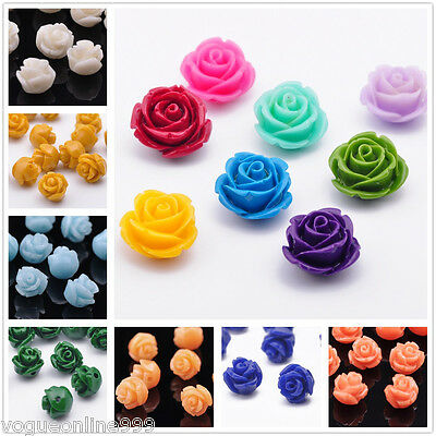 28Colors 10pcs 8/10/12/14/16/18mm Resin Flower Shape Charms Loose Spacer Beads
