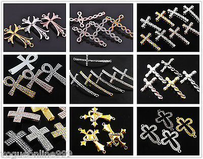 3pcs 10 Styles Cross Curved Side Ways Crystal Rhinestone Charms Connectors