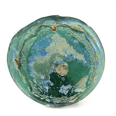 Colourful Solid Old World Recovered High Patina Glass Bottle Base Fragment 45mm