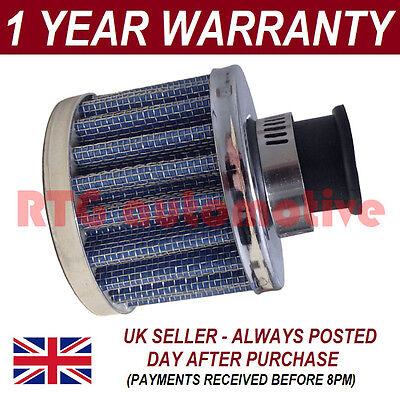 12mm AIR OIL CRANK CASE BREATHER FILTER MOTORCYCLE QUAD CAR BLUE & CHROME ROUND