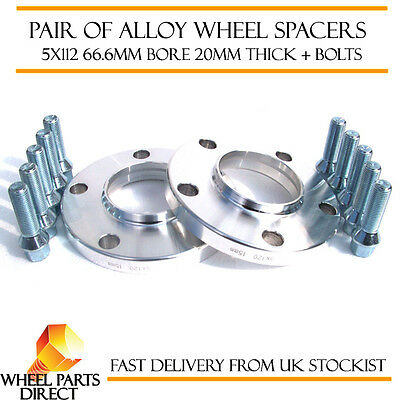 Mercedes Merc Alloy Wheel Spacers Spacer Kit 5x112 66.6 20mm + 12x1.5 OE Bolts