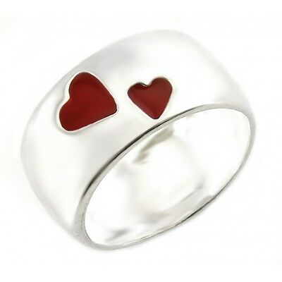 Sterling Silver Band Ring with Red Hearts Size 7