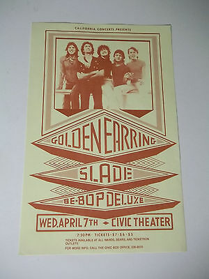 Vintage  CONCERT Hand Bill Flyer  GOLDEN EARRING SLADE