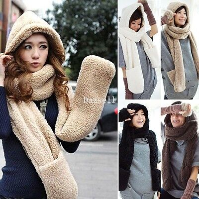 Fashion Soft Spirit Long Hooded Soft Faux Fur Scarf Hat Cap With Pocket Glove