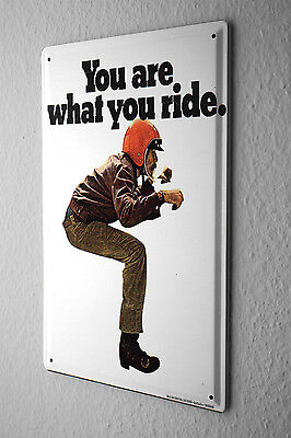 Blechschild BSA ohne Motorrad You are what you ride Helm rot 20x30 cm
