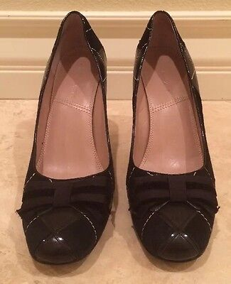 3035ee5c653b TAHARI Black Quilted Patent Leather Suede Pumps Heels w  Cute Bow Detail Sz  9.5M