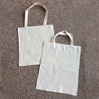 Plain Calico Bags Long / Short Double Handles | Bulk Buy 5 10 15 20 25 30 40 50