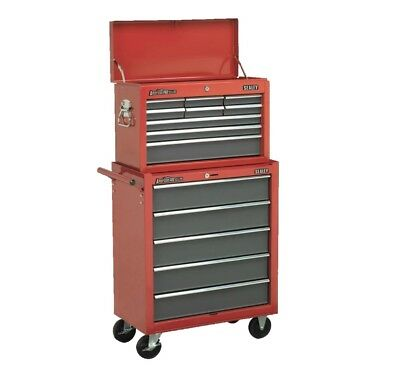 Red Sealey 14 Drawer Top Chest Box Roller Roll Cabinet Tool Storage Toolbox