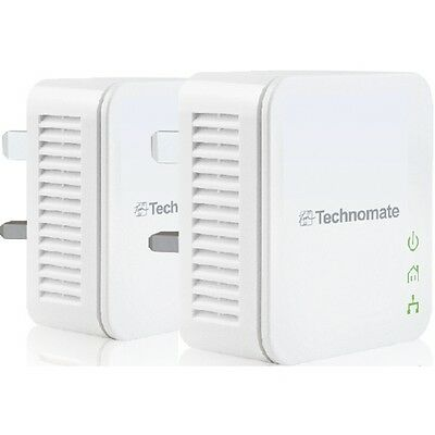 200 Mbps Powerline Adapter Twin Pack Kit - Homeplug Networking Technomate