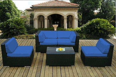 Outdoor Patio Wicker Furniture Deep Seating 5pc Set - Blue