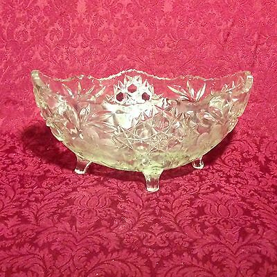 Large Oval Footed Pressed Cut Etched Glass Fruit Bowl EAPG