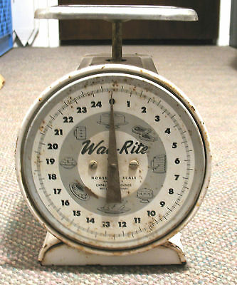 Antique Vintage WAY-RITE 25lb Kitchen Household Dial Scale, Great Style!