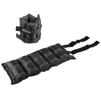 2 X 5 Kg Wrist Ankle Weights Gym Training With Adjustable Pair Strap Black