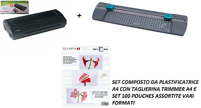 Kit Plastificatore Olympia A230Plus + Taglierina Trimmer A4 Tr-111 + 100 Pouches