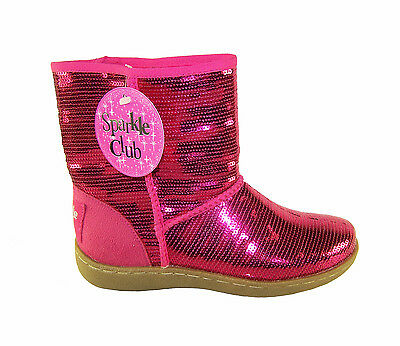 Girls Children Brand New Pink Sequin Ankle Boots Pull On Boots Casual Fur Lining