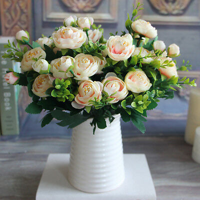 Realistic 6 Branches Pink Spring Artificial Fake Peony Flower Wedding Decor