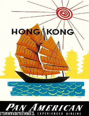 Hong Kong China Chinese Boat by Clipper Vintage Travel Advertisement Art Poster