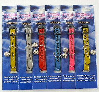 Designer Reflective Cat Collars by Moky (set of 6 collars)