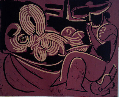 Pablo Picasso - Reclining Womand and Picador with Guitar- Linolschnitt