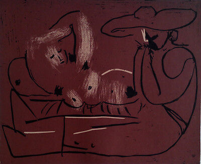 Pablo Picasso - Recling Woman and Picador Eating Grapes- Linolschnitt