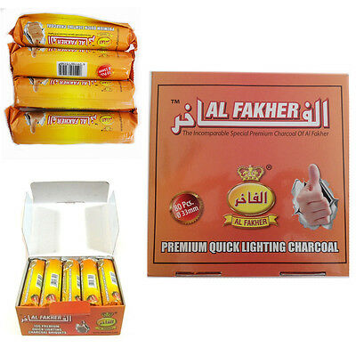 80 Dics Charcoal AL-FAKHER Quick Lighting Shisha Hookah 8 Roll Coal Disc Briquet