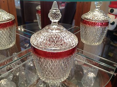 VNTGE 70'S INDIANA GLASS DIAMOND POINT RUBY ICE BUCKET W/ LID WINE CHILLER MINT!