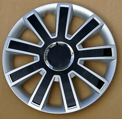 "Full set silver/black 15"" wheel trims to fit Vw Transp.T4,Golf,Polo,Touran,Caddy"