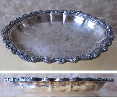 """Vintage SILVER PLATE CANDY DISH,Countess,U.S.International Silver Co.,8"""" x6 1/2"""""""