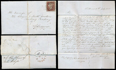 PENNY RED IMPERF SCOTLAND 1852 NUMERAL 40 of BEITH + LETTER KILBIRNIE to RAILWAY