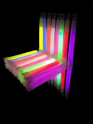 """50x 6"""" Inch Glow Sticks Glowtopia - Individually Wrapped, for All Occasions"""