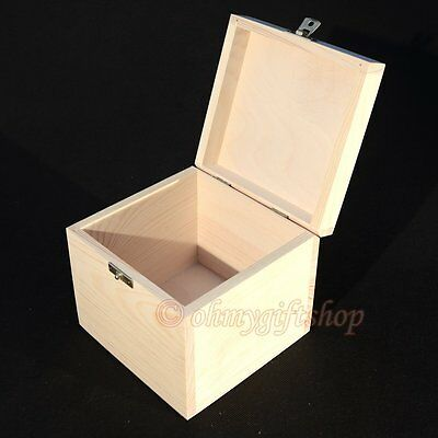 treasure chest spice box  gift box medium storage decoupage plain wood wooden