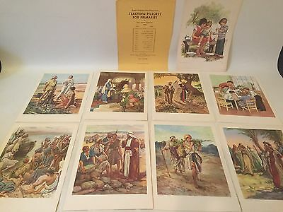 Old Vtg Lot 9 Providence Lithograph Religious Bible Lessons Litho Prints 1950's