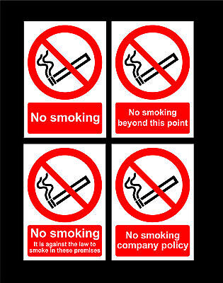 No Smoking Signs Or Stickers - Choice Of Sizes - Beyond, Illegal, Company Policy