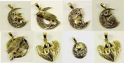 Bronze Pendant Moon Grazing Hares Cat Owl Angel Unicorn Raven Pagan  LISA PARKER