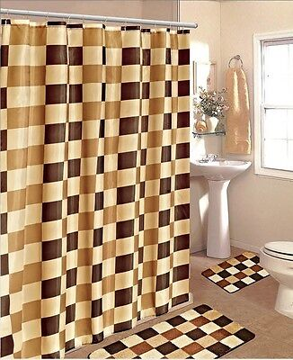 Brown Coffee Gold Checkersmodern Style  Fabric Shower Bathroom Curtain Set Hook