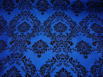 "50ft Royal Blue Flocking Damask Aisle Runner Taffeta Fabric 58"" Flocked Velvet"