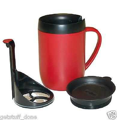 ZYLISS SMART CAFE ONE CUP HOT MUG COFFEE CAFETIERE & SPLASH LID. RED Free Post