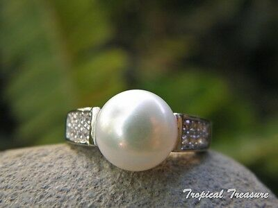 10mm White Pearl Solitaire (Size 7, N 1/2), CZ's & 925 SOLID Silver RING